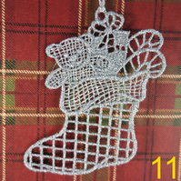 Handmade Christmas Tree Ornaments Design 11. Embroidered Free Standing Lace.