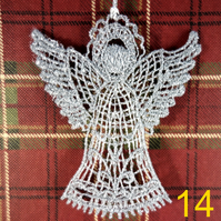 Handmade Christmas Tree Ornaments Design 14. Embroidered Free Standing Lace.