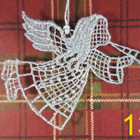 Handmade Christmas Tree Ornaments Design 13. Embroidered Free Standing Lace.