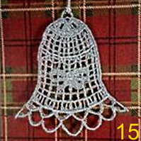 Handmade Christmas Tree Ornaments Design 15. Embroidered Free Standing Lace.