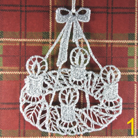 Handmade Christmas Tree Ornaments Design 1. Embroidered Free Standing Lace.
