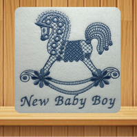 Handmade New Baby Boy greetings card embroidered design