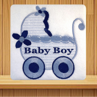 Handmade baby boy and Pram greetings card embroidered design