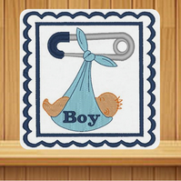 Handmade baby boy personalised card embroidered design