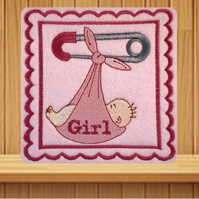 Handmade baby girl greetings card embroidered design