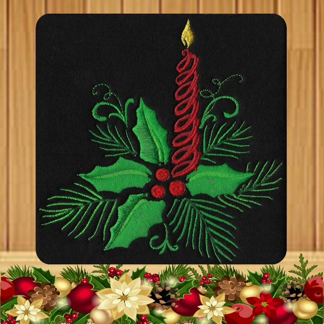 Candle and Foliage Embroidered Christmas Card