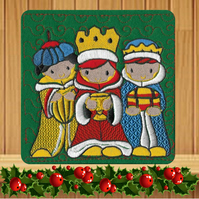We Three Kings Embroidered Christmas Card