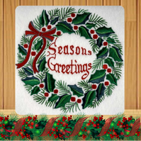Handmade Holly Wreath Seasons Greetings Christmas card embroidered design
