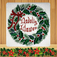 Welsh Handmade Nadolig Llawen Holly Wreath Christmas card embroidered design