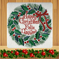 Spanish Handmade Feliz Navidad Holly Wreath Christmas card embroidered design wi