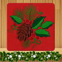 Christmas Pine Cone and Holly Embroidered Card