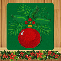 Red Christmas Bauble with Holly Foliage embroidered Card