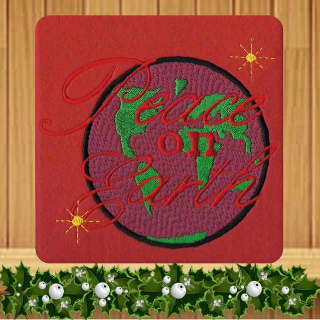 Christmas Peace on Earth Embroidered Card
