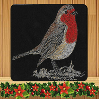 Handmade Robin Christmas card embroidered design with Black Background