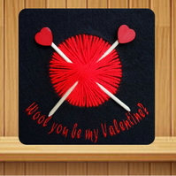 Valentines Card. Handmade embroidered design with Knitting needles design.