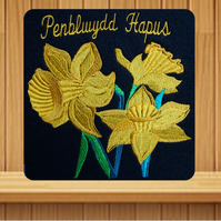 Welsh Daffodils embroidered birthday card