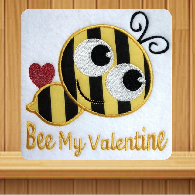 Bee My Valentine Handmade embroidered design with applique effect Bee
