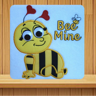 Bee Mine Valentine Handmade embroidered design with applique effect Bee