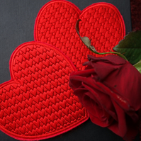 Drinks Coaster Valentines Love Heart Embroidered Design
