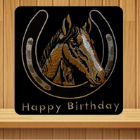 Horses Head and Horseshoe Card. Handmade embroidered design