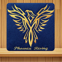 Phoenix Rising Card. Handmade embroidered design