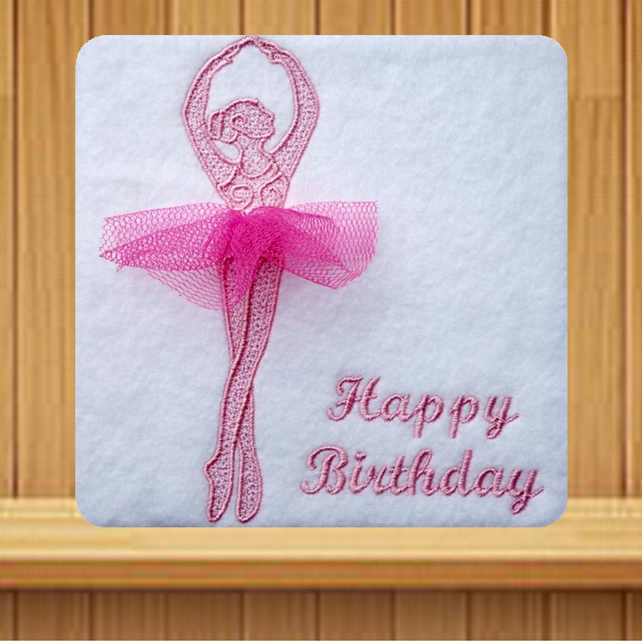 Pink Ballerina with Net Tutu Embroidered Card
