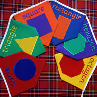 Shapes and their Names Bunting Geometric Rainbow Fabric Embroidered