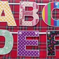 Alphabet Capital Letters Bunting Embroidered - mixed fabric colours and designs