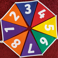 Numbers 1-50 Bunting Rainbow Embroidered - perfect for classrooms or playrooms