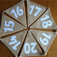 Numbers Bunting Hessian Fabric Embroidered - 0-10; 1-10; 0-20;1-20; 0-50; 1-50