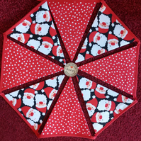 Christmas Bunting Santa and Dots Design Bunting 12 Flags - Hand Crafted
