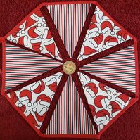 Christmas Bunting Santa Hats and Stripes Design 12 Flags - Hand Crafted