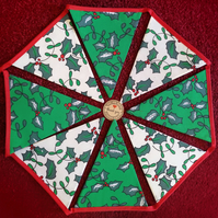 Christmas Holly Design Bunting - 12 Flags - Hand Crafted