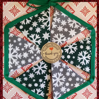 Mini Christmas Bunting Green and Grey Snowflakes Design 6 Flags - Hand Crafted