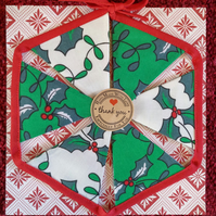Mini Christmas Bunting Holly Design 6 Flags - Hand Crafted