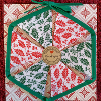 Mini Christmas Bunting Holly Leaf Design 6 Flags - Hand Crafted
