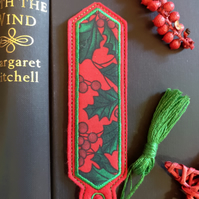 Christmas Holly Bookmark embroidered hand crafted design coordinating tassel