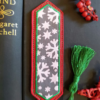 Christmas Snowflake Bookmark embroidered hand crafted design coordinating tassel