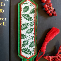 Christmas Holly Leaf Bookmark embroidered hand crafted design matching tassel