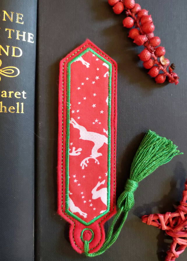 Christmas Reindeer Bookmark embroidered hand crafted design coordinating tassel