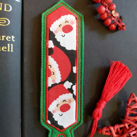 Christmas Santa Bookmark embroidered hand crafted design coordinating tassel