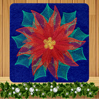 Christmas Poinsettia Embroidered Card