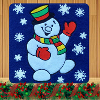 Christmas Snowman Embroidered Card