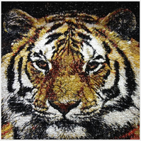 Tiger. A beautiful, mounted, machine embroidered work of art.