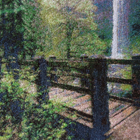 Embroidered Art-Waterfall Bridge.Beautiful, mounted, unframed
