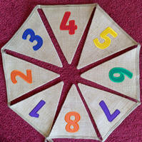 Numbers Bunting Hessian Embroidered - 0-10; 1-10; 0-20;1-20; 0-50; 1-50