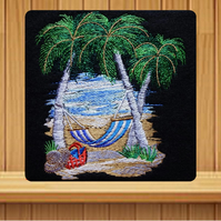 Handmade palm trees and hammock greetings card embroidered design