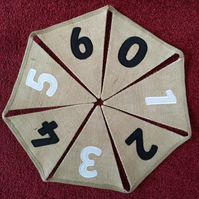 Odds and Evens Numbers Bunting Hessian  - 0-10; 1-10; 0-20;1-20; 0-50; 1-50
