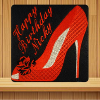 Handmade red and black high heel shoe personalised card, embroidered design