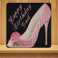 Handmade pink high heel shoe personalised card, embroidered design